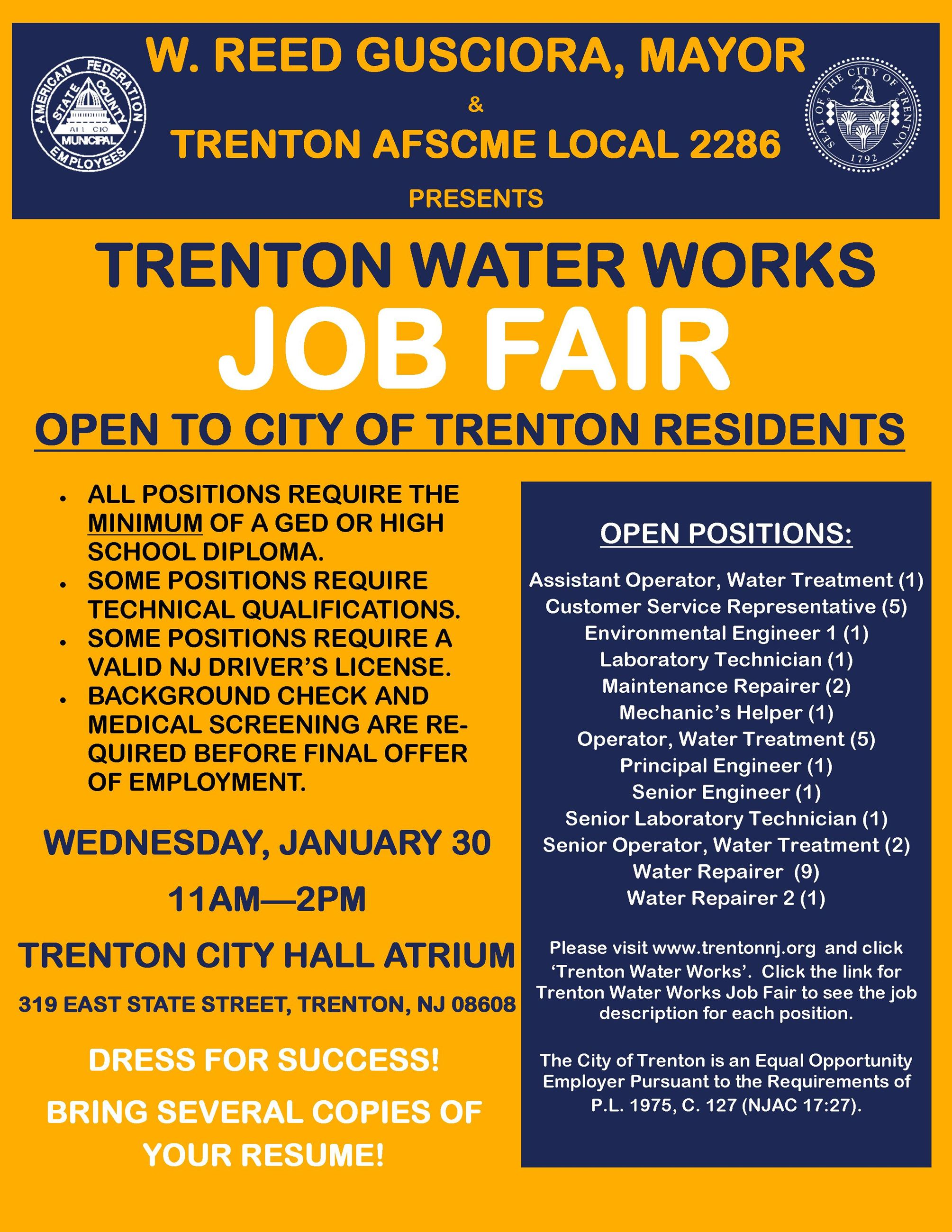 Trenton Water Works Job Fair