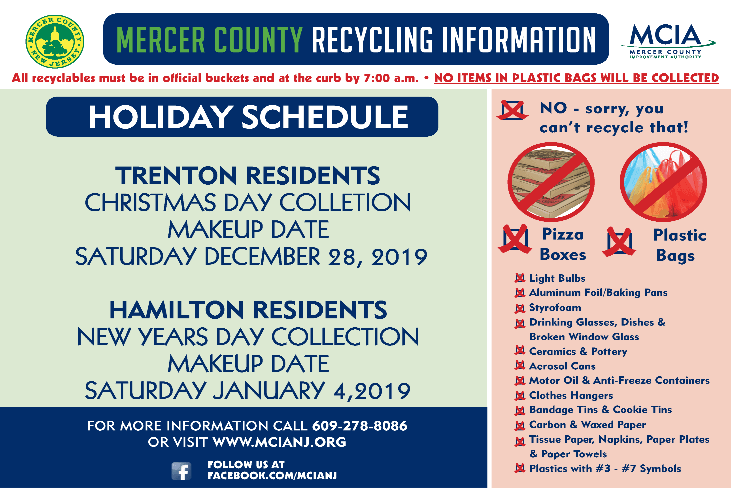 Holiday Recycling Schedule