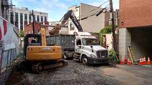 Excavating Contaminated Soil Behind a Former Dry Cleaner