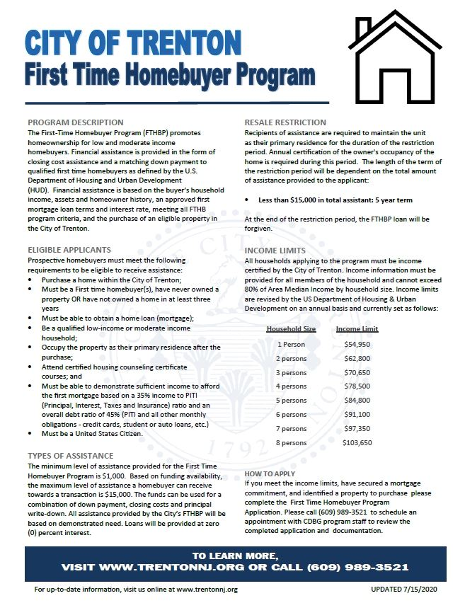 First Time Homebuyer Program Information Sheet (PDF) Opens in new window