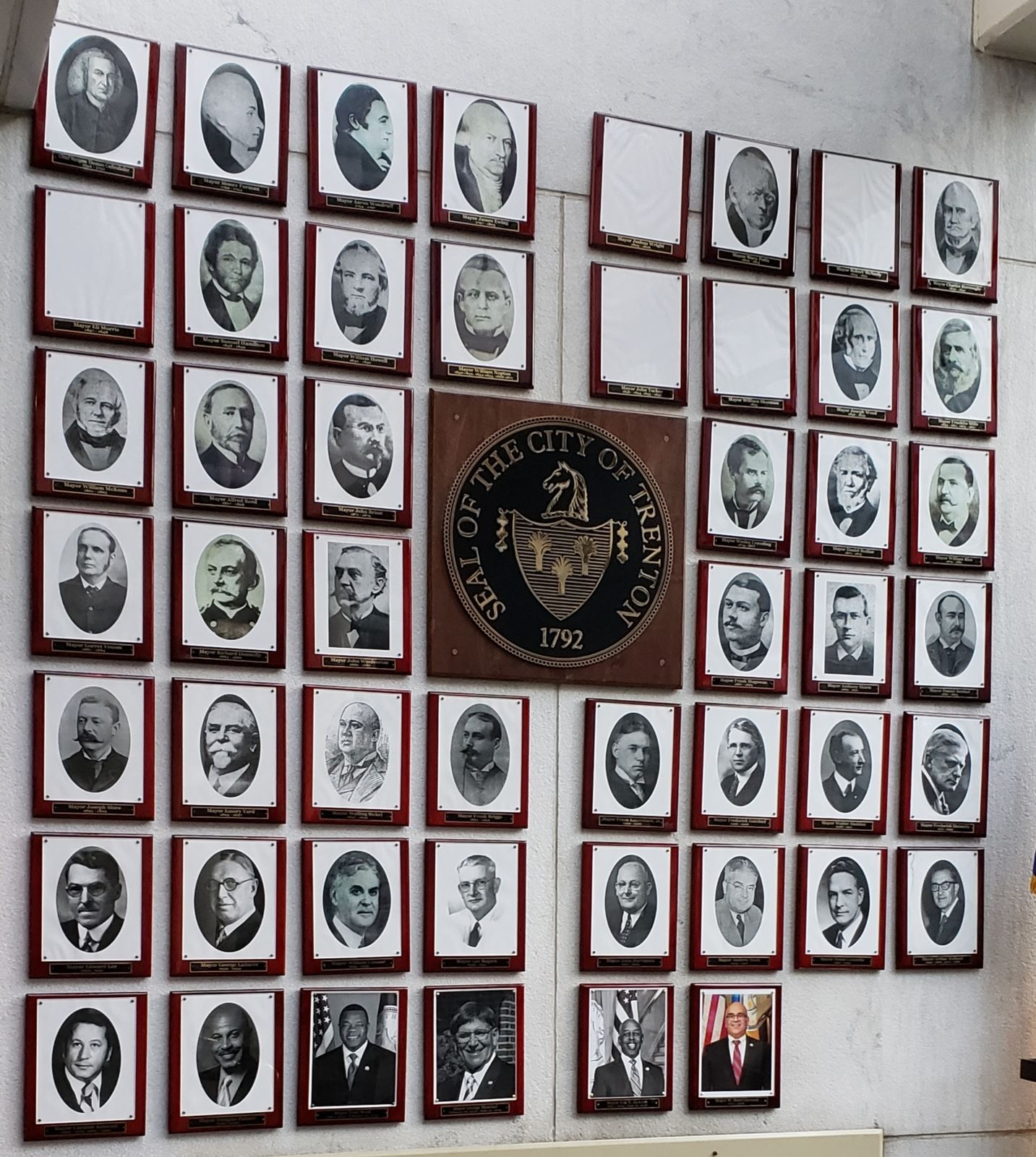 Wall with Photos of Trentons Past Mayors